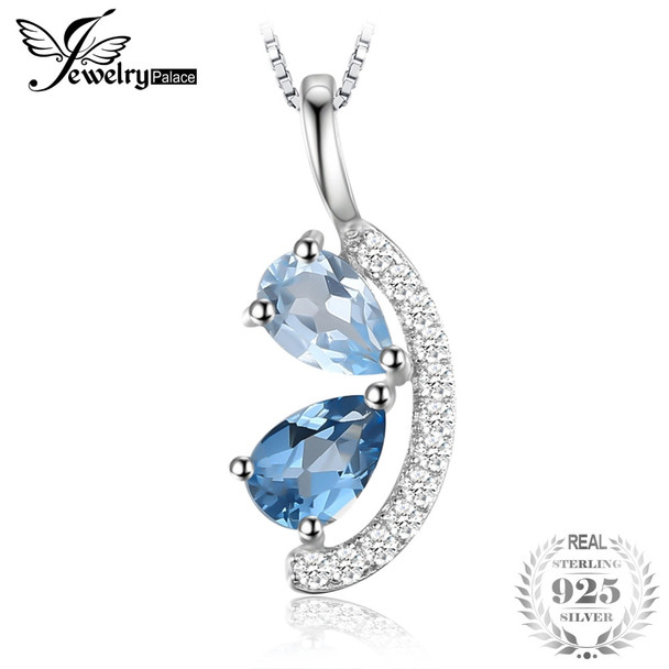 JewelryPalace 1ct Natural Sky Blue Topaz and London Blue Topaz Cluster Pendant 925 Sterling Silver Jewelry Not Include a Chain