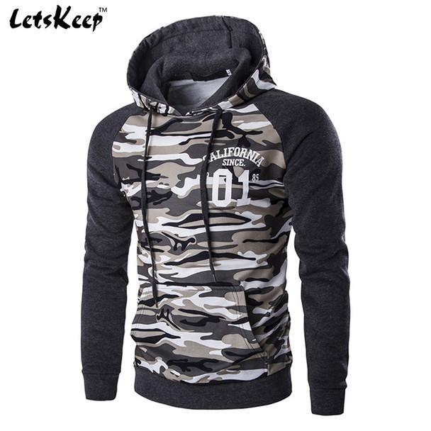 2018 New Letskeep mens camouflage pullover hoodies casual slim hooded sweatshirts men hip hop pocket camo hoodie tracksuit,MA226