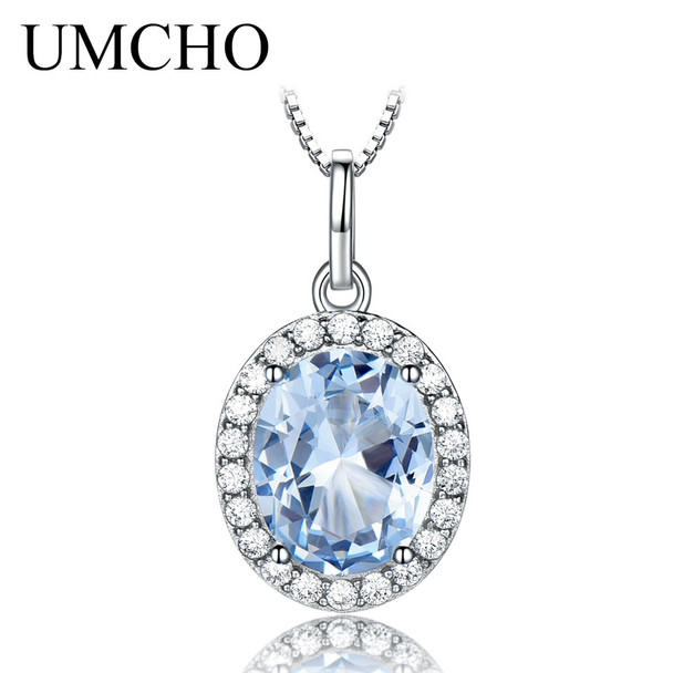 UMCHO Nano Sky Blue Topaz Gemstone Fashion Necklace 2018 925 Sterling Silver Pendant For Women Wedding Chain Brand Fine Jewelry