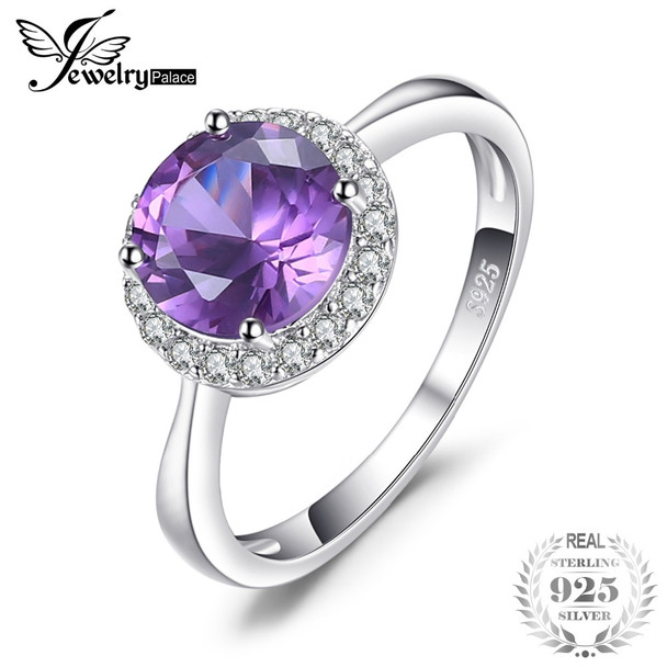 JewelryPalace Top Round 2.97ct Created Alexandrite Sapphire Engagement Ring For Women 925 Sterling Silver Fashion Fine Jewelry