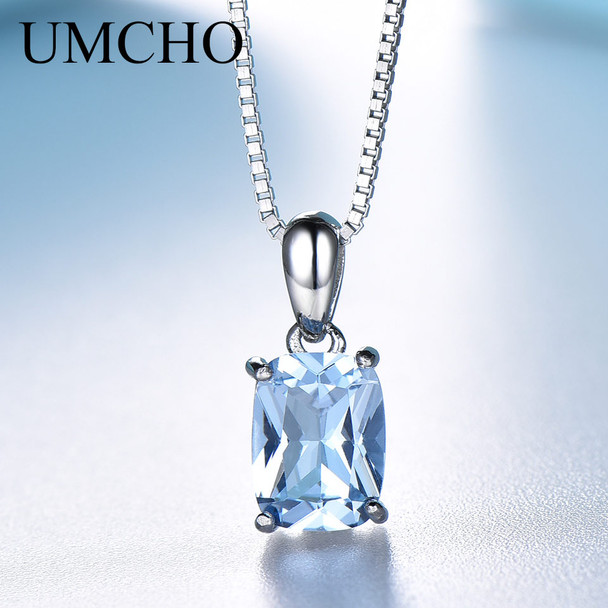 UMCHO Solid 925 Sterling Silver Pendant Necklace Gemstone Sky Blue Topaz Necklace Romantic Wedding Gifts For Women Fine Jewelry