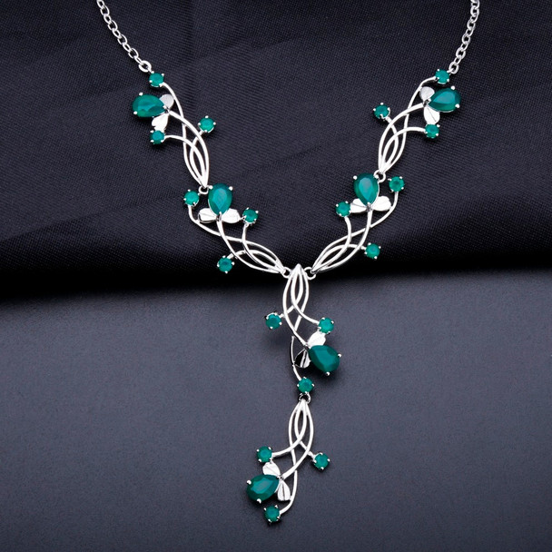 GEM'S BALLET Fine Jewelry 5.87ct Natural Green Agate Bridal Necklace For Women 925 Sterling Silver Necklace Wedding Jewelry