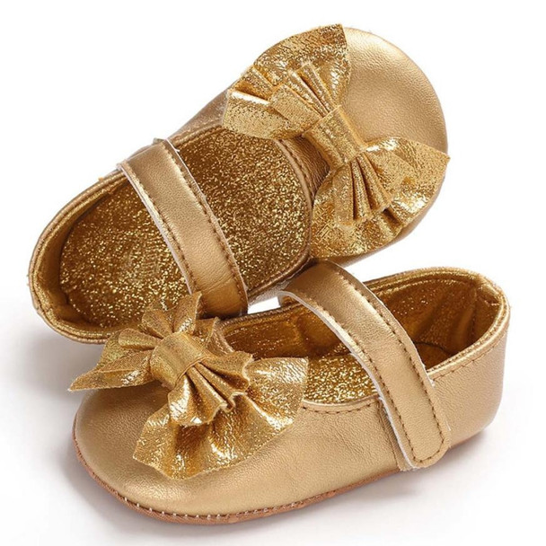 0-18Months Toddlers Soft Sole Shoes Tassel PU Leather Crib Bow Shoe First Walkers Bow Soft  Crib Anti-slip Single Shoes gold
