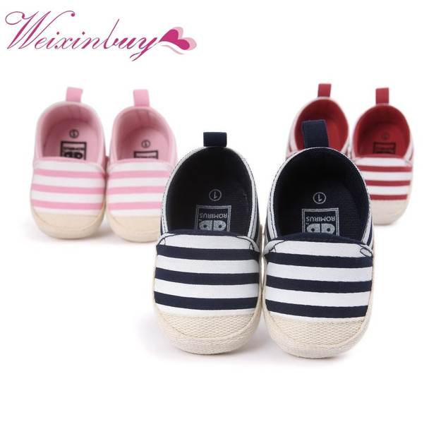 2017 Baby Striped Shoes Lovely Infant Boys Girls First Walkers Soft Sole Toddler Footwear