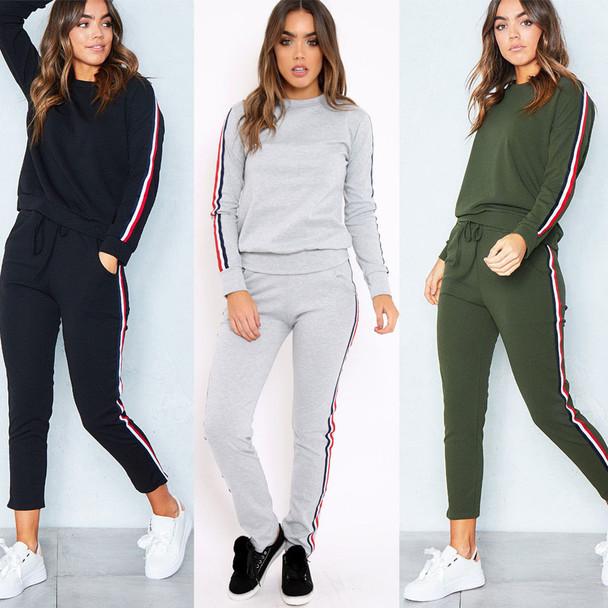 premium selection f6fcb 5c609 2017 Autumn Winter Knit Sportswear Women Long Sleeve Side Stripe Tracksuit  Female Casual Conjuntos Ankle-Length Pants Womens Set