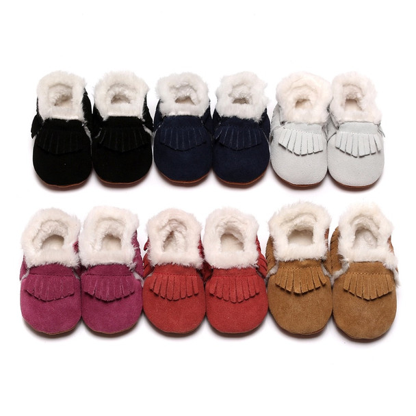 51046463314a 2018 Baby girls shoes Winter Warm Hard rubber Sole with fur boots handmade  Toddler first walkers Suede Boots Infant Moccasins