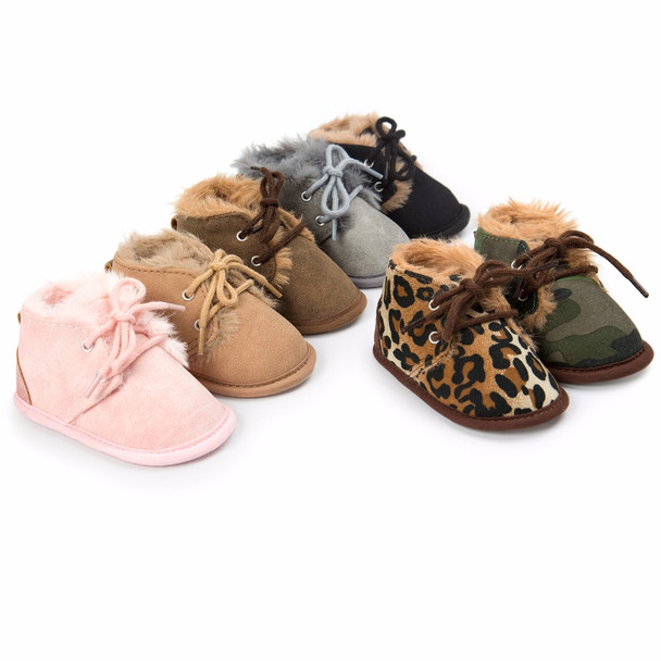 ROMIRUS Newborn Baby Girls Boys Shoes Winter Super Warm Lace-Up Fleece Sneakers Boots Crib Bebe Infant Toddler First Walkers
