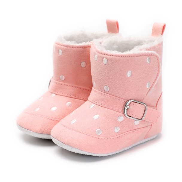 Baby Shoes Newborn Winter Fleece Leather Baby Shoes Infant Booties Prewalker Warm Booties Shoes Anti-Slip 0-18 Months