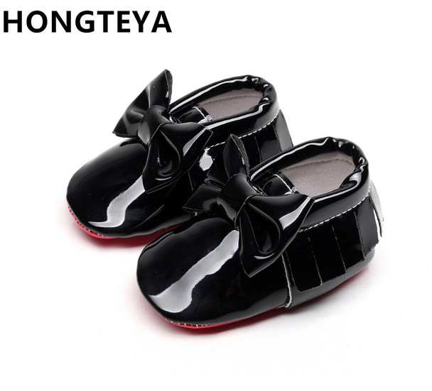 29e05265aa9 HONGTEYA tassel Patent leather Red bottom soft sole Baby Moccasins baby  boys girls Shoes bow-tie Infant toddler first walkers
