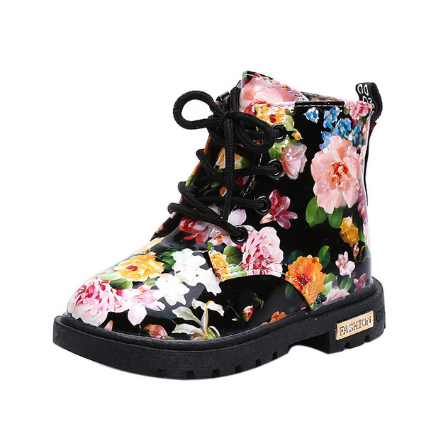 2017 Girls Fashion Floral Kids Shoes Baby Martin Boots Casual Children Shoes Leather Rain Boots for Kids Girls Shoes Snow Boots