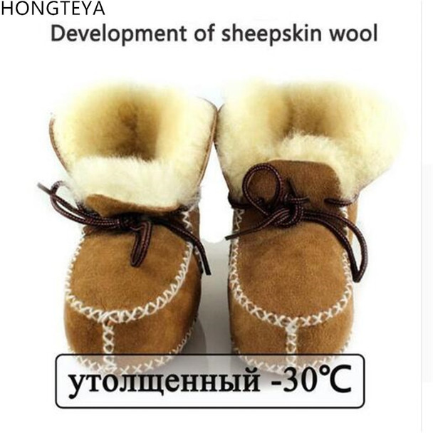 Hongteya Winter genuine leather Snow Wool boots for Baby Newborn warm shoes infant toddler soft sole First Walkers booties