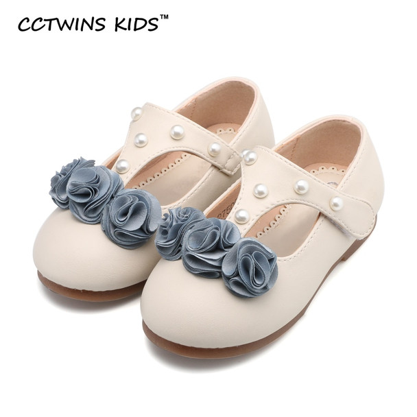 CCTWINS KIDS spring autumn baby girl fashion flower party T-strap for toddler brand pearl dance flats children pink shoe