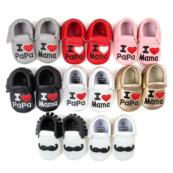 Infant Baby Boys Girls Shoes Tassel Princess Crib Bebe PU Leather Newborn Baby Moccasins Love Papa Mama First Walker Shoes