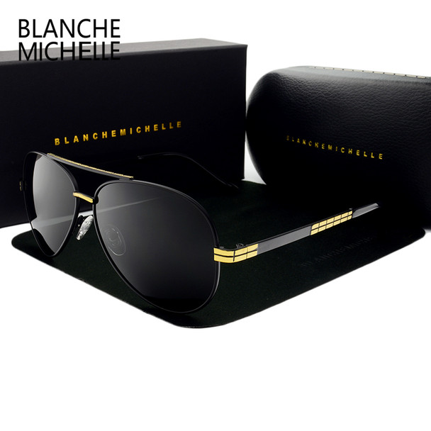 2019 High quality New Pilot sunglasses men Polarized luxury brand vintage Mens Sun glasses Driving UV400 Sunglass With Box