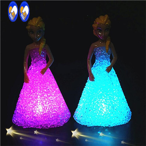 (A Toy A dream)Anna Elsa Toys Doll Ice Snow Queen 7 LED Color Baby Doll Toys For Girls Baby Doll Toys For Girls FW111