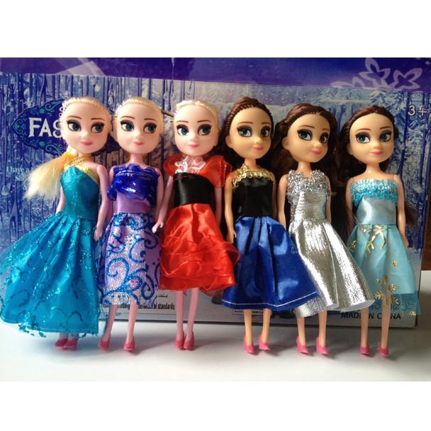 Disney Toys 6 Pcs/Set Anime Cartoon movies Frozen Princess Anna And Elsa Doll 16cm Anna And Elsa Cute Mini Dolls Gift