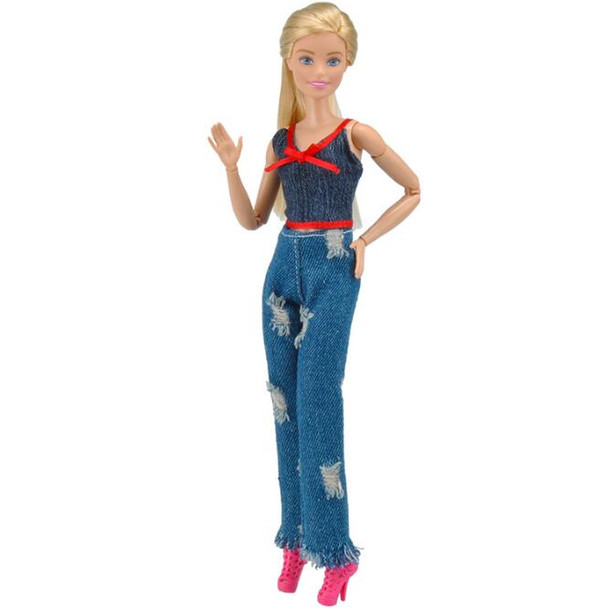 Barbie clothes barbie accessories Fashion casual Sling Hole Jeans Suit For Dolls Beautiful Barbie Clothes as gifts for girl