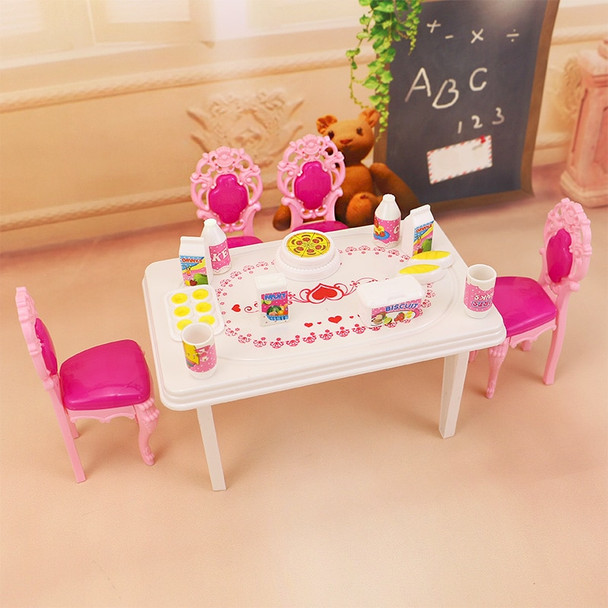17pcs In 1, Dinner Table Set For Barbie And Kelly Doll's House Furniture, Doll Accessories.