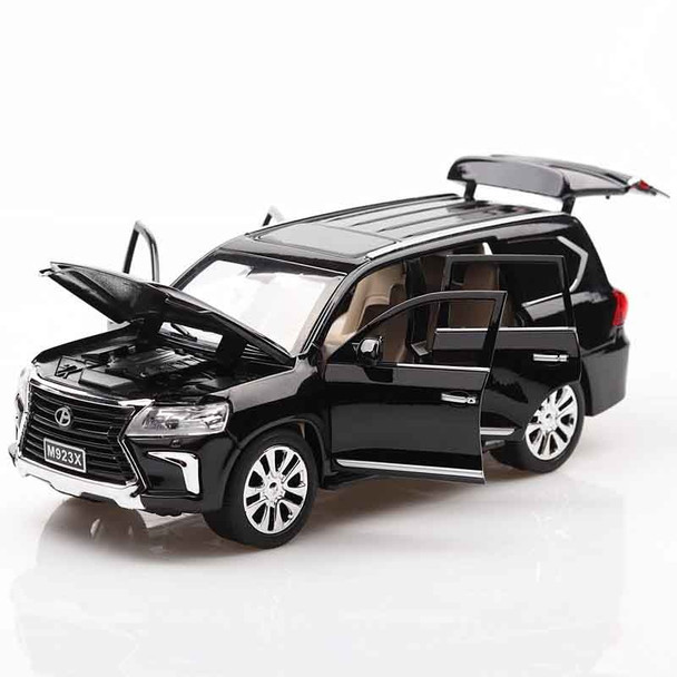 1:24 LX570 Alloy Metal Model Pull Back Toy Cars Light Sound Diecast Vehicle Toys Car for children Adults Collection