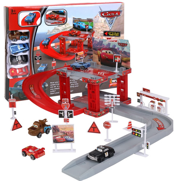 Disney Pixar Cars 3 Lightning Mcqueen Mater Sheriff Track Parking Lot Plastic Diecasts Toys Model Car Toys Childrens Gifts