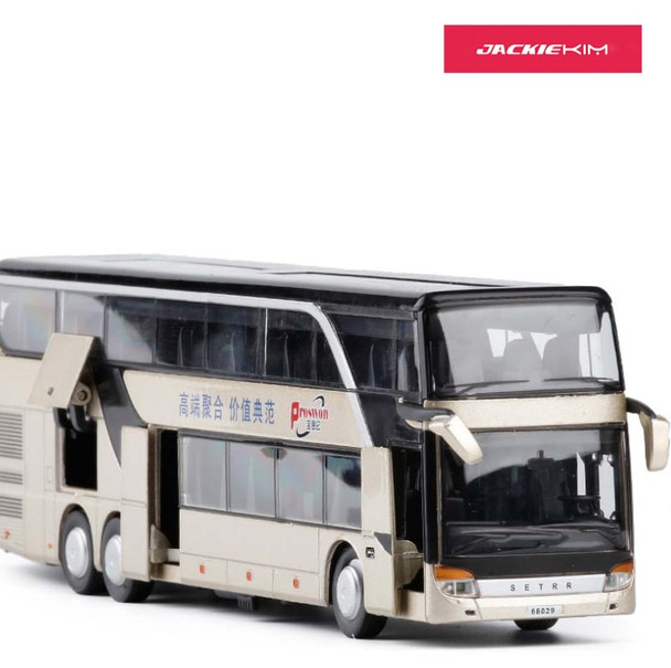 Hot Sale High quality 1:32 alloy pull back bus model high simitation Double sightseeing bus flashing toy vehicle free shipping