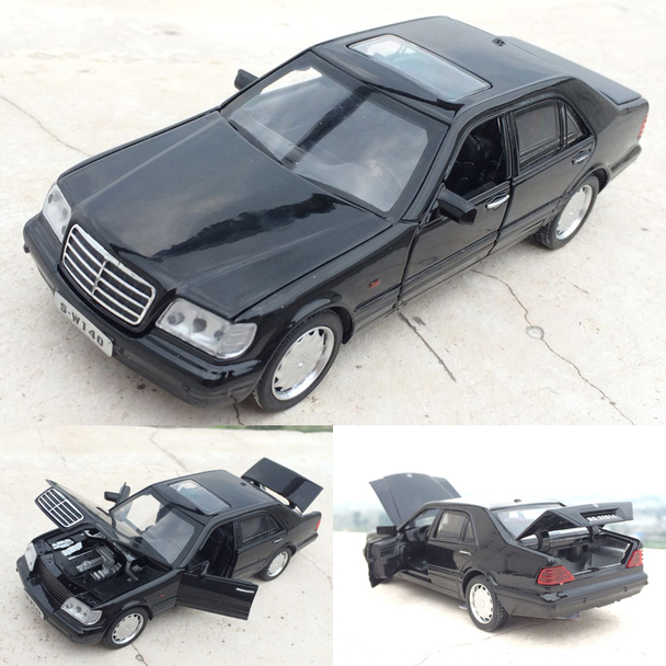 High simulation 1:32 Scale 1993 Classic W140 Alloy Diecast Model Car With Pull Back Light Sound Toys Collection Free Shipping