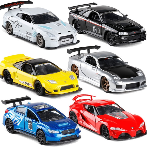 1/32 Scale JADA Car Model Toy Fast & Furious Subaru Honda NSX Toyota FT Nissan GTR R34 R35 Mazda RX7 Diecast Metal Car Toy Gifts