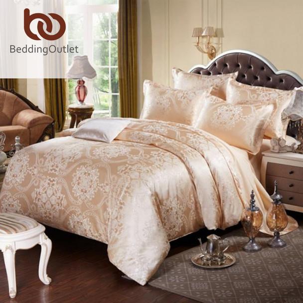 BeddingOutlet Gold Bedding Set Noble and Elegant Duvet Cover Tribute Silk Qualified Bed Linen Queen King 4pcs
