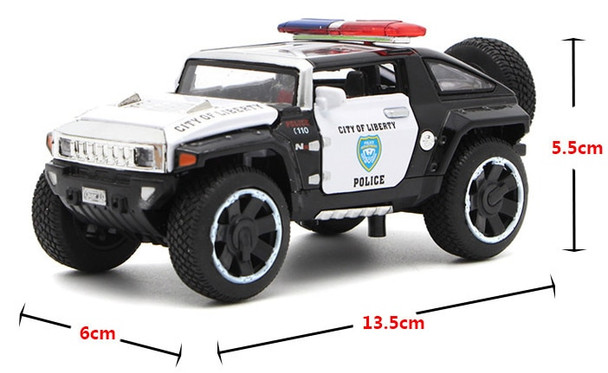1/32 Scale Hummer Police Diecast Vehicles Model Car Toys With Openable Doors Pull Back Light Music For Boys Birthday Gift
