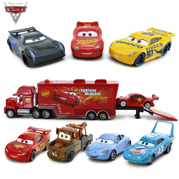 1:55 Disney Pixar Cars 3 Metal Diecasts Toy Vehicles Black Storm Jackson Lightning McQueen Car Model Toys Kids Christmas Gift