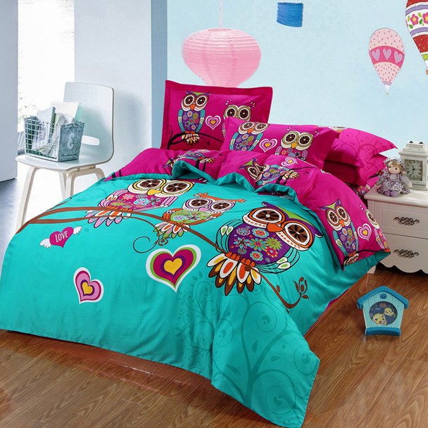 3/4/7pcs owl kids/children 3d bedding twin full queen king size 100% cotton duvet cover flat or fitted sheet pillowcases sets