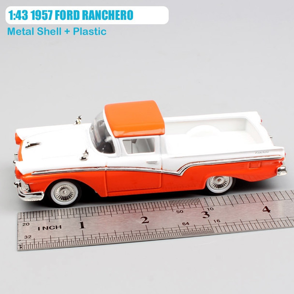 1 43 Scale small retro 1957 FORD RANCHERO metal die casting pick up truck Van car engine model Free toys Collectible for adults