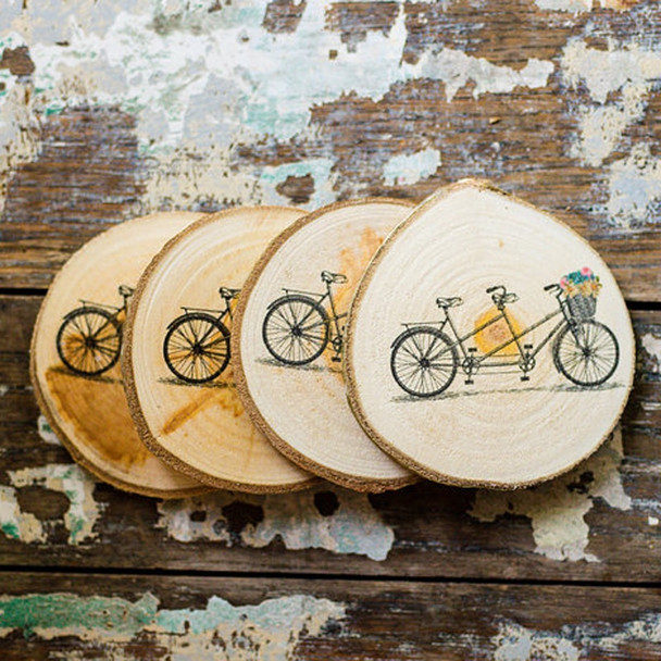 10Pc Coasters Pine Wood Multi-size Slices Rustic Tree Branch Slices For Craft Natural Wood  Decor Slices High 5mm