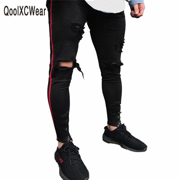 QoolXCWear men Jeans Hiphop Zipper Stretch Knee Ripped Biker Jeans Hole Hip Hop Elasticity Skinny Denim Trousers Vintage Jeans