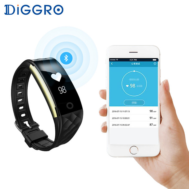 Diggro S2 Smart Wristband Heart Rate Monitor IP67 Sport Fitness Bracelet Tracker Smartband Bluetooth For Android IOS PK miband 2