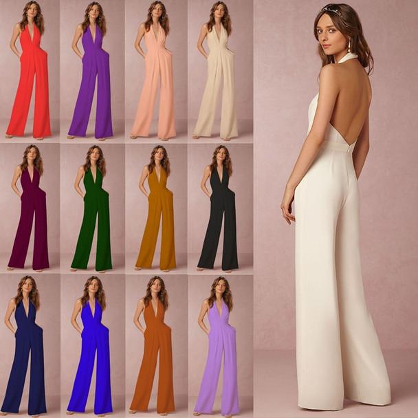 Body Women Sexy Deep V Neck Overalls Halter Long Pants Jumpsuits Plus Size Elegant Body Feminino Enteritos Largos Mujer Verano