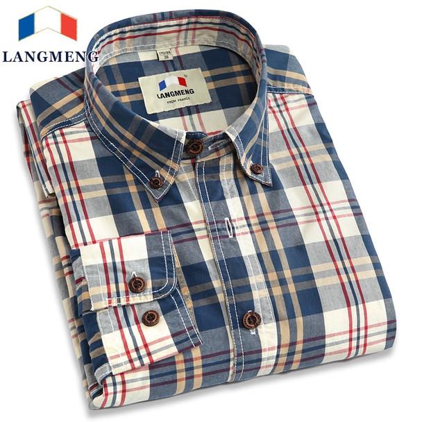 ecb0f5f0 Langmeng new 2017 autumn spring mens plaid casual shirts long sleeve 100%  cotton dress shirt men retro style camiseta masculina