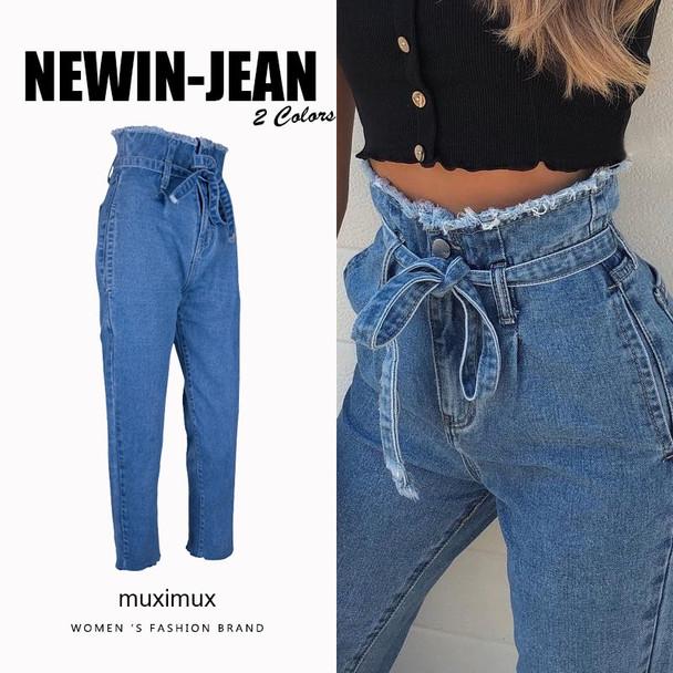 Muximux 2018 Autumn Denim Jeans Women High Waist Winter Jeans Femme Streetwear Tassel Straight Jeans Female Cowboy Denim Pants