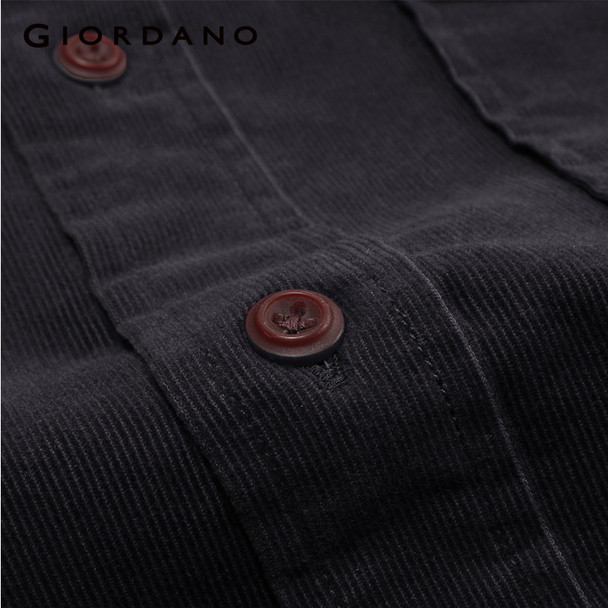Giordano Men Shirt Solid Corduroy Casual Shirts Long Sleeves Pocket Hombre Clothes 2017 Mens Slim Fit Fashion Brand