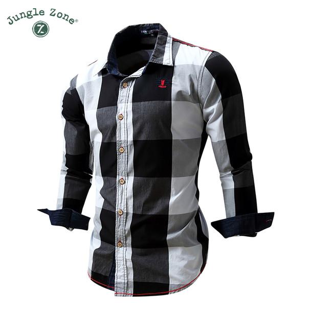 8ec6bad6 JUNGLE ZONE European size big plaid shirt design men's long-sleeved 100%  cotton Shirt casual men's shirts FM099