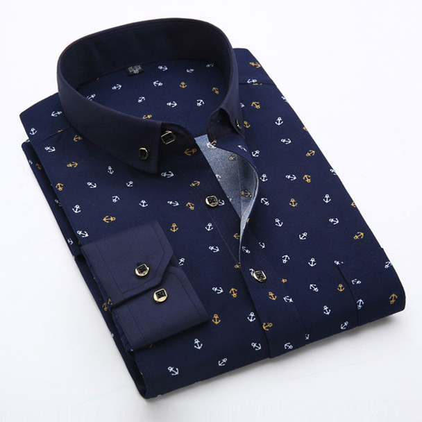 New 2020 Spring Men Casual Shirts Fashion Long Sleeve Brand Printed Button-Up Formal Business Polka Dot Floral Men Dress Shirt