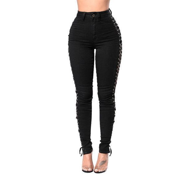 Women Side Hollow Jeans Lace up Pants Tight Sexy Cross Bandage Pants Pencil Trousers Skinny Jeans Plus Size Black 2018