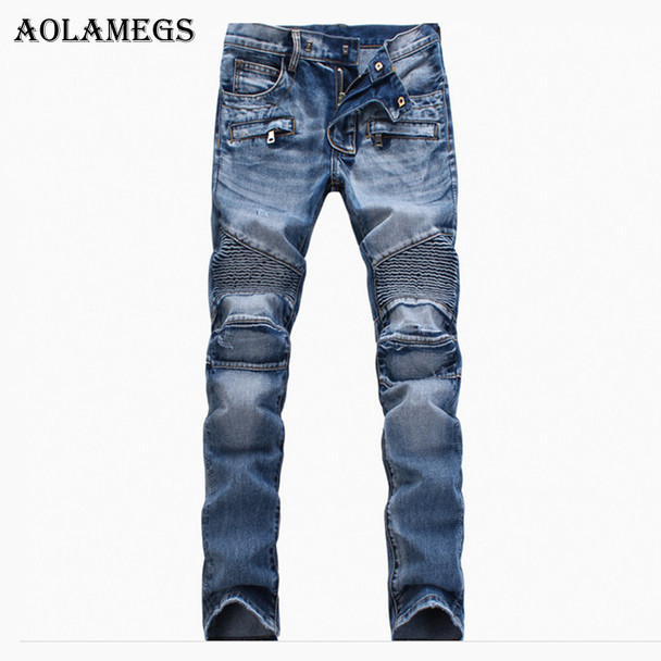 Aolamegs Men Jeans Pants Solid Pleated Slim Motorcycle Pants Full Length Trousers Summer Splicing Light Button Denim Straight Ti