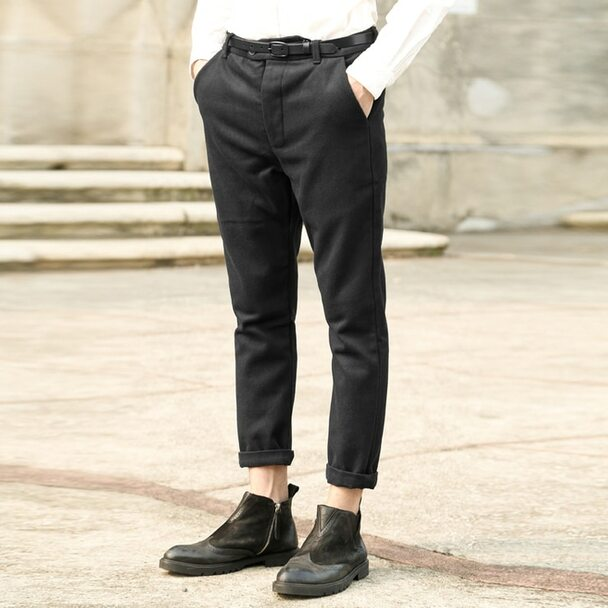 2017 spring new casual men's trousers pants Slim fit men's woolen casual pants mens slim dress pants patalones hombres