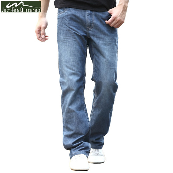 2018 New Summer Brand Jeans Men Fashion Casual Loose Jeans Straight  Breathable Elastic Comfortable Wide Leg Pants Plus Size