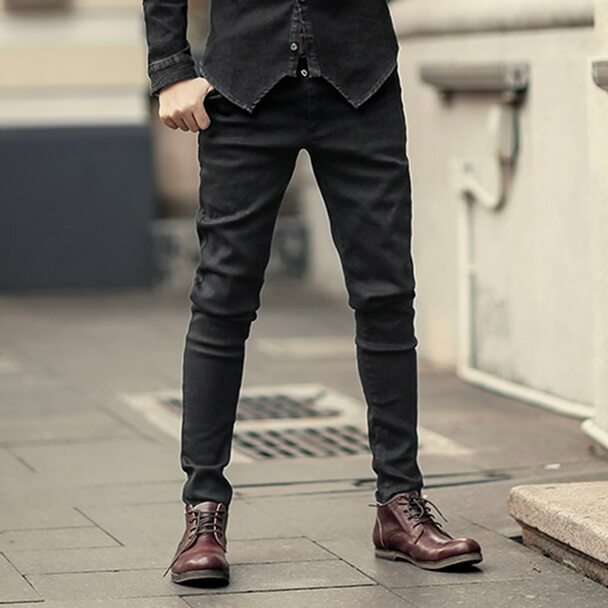 2018 Men black stretch jeans trousers zipper slim Mens casual long pencil pants skinny cotton fashion brand design winter new