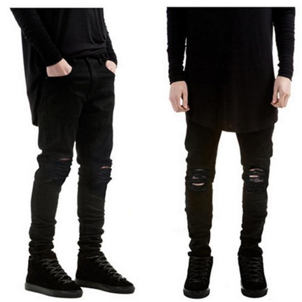 2017 Summer Fashion Ripped New Biker Slim Jeans Motorcycle Style Elastic Men Jeans Slim Fit Washed Pants  Destroyed Men Pant
