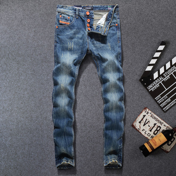 2017 High Quality Fashion Men Jeans Dsel Brand Ripped Jeans For Men Patchwork Pants Straight Slim Fit Distressed Hole Jeans Men