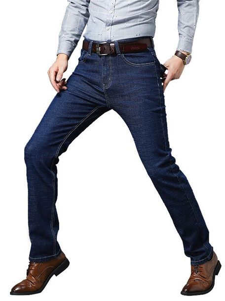 Vomint Four Seasons style Men Casual Jeans  Slim Straight Elasticity Thin Jeans New Fashion Loose Waist Long Trousers Big Size