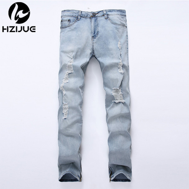 2018 Plus Size Ripped jeans Men Jeans Hole Designer Summer Mens side zipper Jeans Slim Cotton European Style Denim Trousers